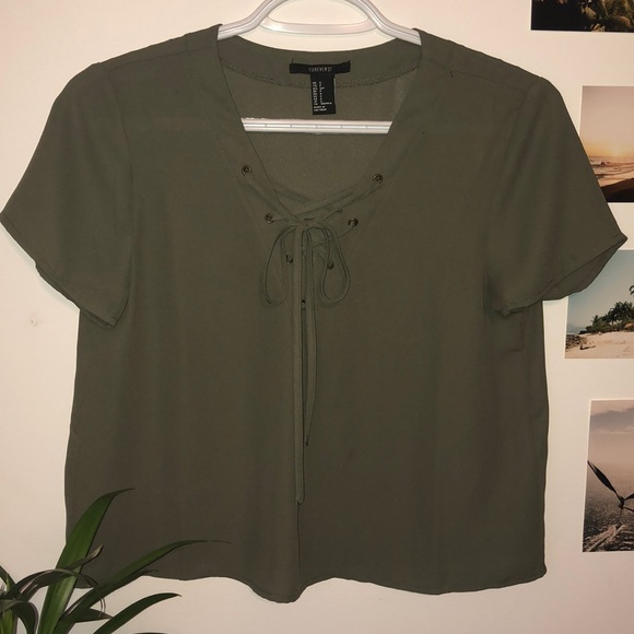 Forever 21 Tops - Lace Up Front Tie Blouse